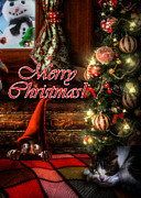 Curtains Digital Art Posters - Christmas greeting card VIII Poster by Alessandro Della Pietra