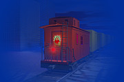 Caboose Digital Art Prints - Christmas greetings Print by Carol and Mike Werner