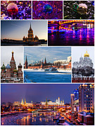 Santa Art Framed Prints - Christmas Greetings From Moscow - Featured 3 Framed Print by Alexander Senin