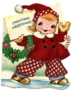 Santa Clause Posters - Christmas Greetings Poster by Unknown