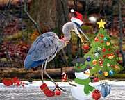 Christmas Heron Print by Angel Cher