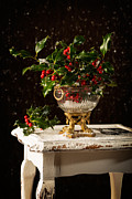 Gilt Framed Prints - Christmas Holly Framed Print by Christopher and Amanda Elwell