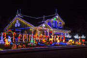 Bulbs Prints - Christmas House Print by Garry Gay
