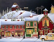 Folk Art Paintings - Christmas in Holly Ridge by Catherine Holman
