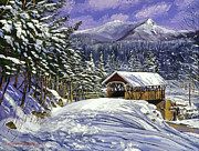 New England Snow Scene Painting Posters - Christmas in New England Poster by David Lloyd Glover