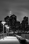 Skylines Metal Prints - Christmas in NYC Black and White Metal Print by JC Findley