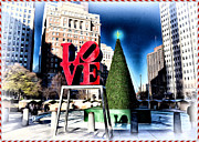 Love Park Framed Prints - Christmas in Philadelphia Framed Print by Bill Cannon