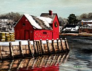 Rockport Paintings - Christmas In Rockport by Eileen Patten Oliver