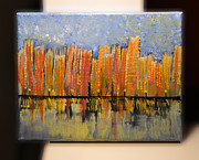 City Scape Paintings - Christmas In The City by Kevin Lilly