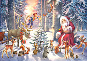 Mice Digital Art Prints - Christmas in the Forest Print by Zorina Baldescu