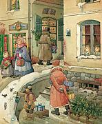 Holiday Drawings Posters - Christmas in the Town Poster by Kestutis Kasparavicius