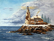 New England Snow Scene Painting Framed Prints - Christmas Island Framed Print by Lee Piper