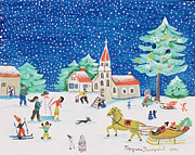 Skiing Christmas Cards Paintings - Christmas Joy by Gordana Delosevic