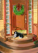 Collie Painting Framed Prints - Christmas Framed Print by Karen Birchfield