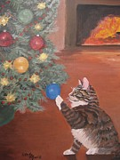 Animals Framed Prints Paintings - Christmas Kitty Cat by Stella Sherman