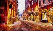 Store Fronts Painting Metal Prints - Christmas Lane Metal Print by Elizabeth Coats