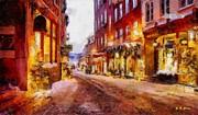 Christmas Lane Print by Elizabeth Coats