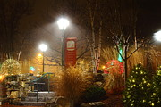 Ll Bean Prints - Christmas lights in the Fog and Rain Print by Stephen Hobbs
