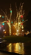 Ll Bean Prints - Christmas Lights in the Rain in Freeport Maine Print by Stephen Hobbs