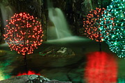 Ll Bean Prints - Christmas Lights Reflected on Water Print by Stephen Hobbs