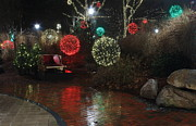 Ll Bean Prints - Christmas Lights Reflecting in the Rain Print by Stephen Hobbs