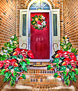 Holliday Digital Art - Christmas Magnolia Leaf Doorway by Patricia L Davidson