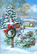Chickadee Framed Prints - Christmas Mail Framed Print by Richard De Wolfe