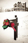 Christmas Card Photo Metal Prints - Christmas Mailbox Metal Print by Diane Diederich