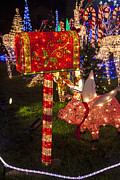 Nighttime Photos - Christmas Mailbox by Garry Gay