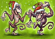 Funny Prints - Christmas Monkeys Print by Kevin Middleton
