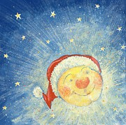 Smiling Painting Posters - Christmas Moon Poster by David Cooke