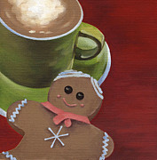 Smiling Painting Posters - Christmas Morning Poster by Natasha Denger
