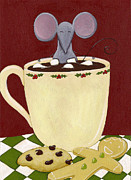 Grey Painting Posters - Christmas Mouse Poster by Christy Beckwith
