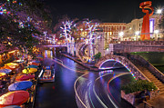 Riverwalk Photo Prints - Christmas on the River Walk 3 Print by Paul Huchton