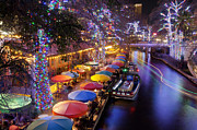 Texas Hill Country Prints - Christmas On The Riverwalk Print by Paul Huchton