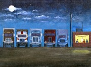 Truckers Painting Posters - Christmas on the Road Poster by Tom Rose