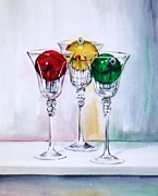 Wine Glasses Paintings - Christmas Ornaments in Wine Glasses by Jane Loveall