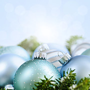 Christmas Art - Christmas ornaments on blue by Elena Elisseeva