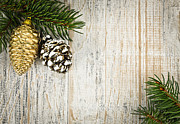 Pine Cone Framed Prints - Christmas ornaments with pine branches Framed Print by Elena Elisseeva