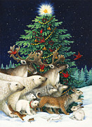 Wild Animals Painting Posters - Christmas Parade Poster by Lynn Bywaters