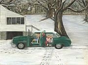 Buick Paintings - Christmas Past by Linda Clark