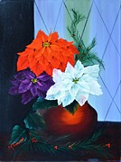 Christmas Greeting Originals - Christmas Poinsettias by Marsha Thornton