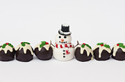 Icing Sugar Photos - Christmas Pudding Chocolates and Snowman by Tim Gainey