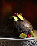 Holly Berry Still Life Prints - Christmas Pudding Print by Christopher and Amanda Elwell