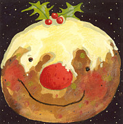 Smiling Painting Prints - Christmas Pudding  Print by David Cooke