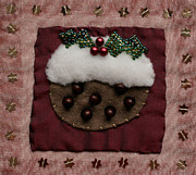 Food  Tapestries - Textiles Framed Prints - Christmas Pudding Framed Print by Katharine Green