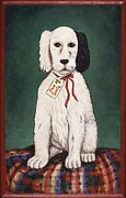 Folk Art Metal Prints - Christmas Puppy Metal Print by Linda Mears