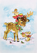 Christmas Cards Prints - Christmas Reindeer and Rabbit Print by Diane Matthes