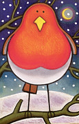 Crescent Moon Posters - Christmas Robin Poster by Cathy Baxter