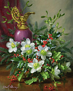 Holly Berry Still Life Prints - Christmas roses Print by Albert Williams